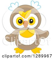 Clipart Of A Cute Brown White And Yellow Owl Toy Royalty Free Vector Illustration by Alex Bannykh