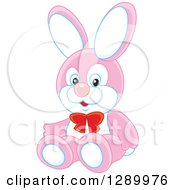 Clipart Of A Stuffed Pink And White Rabbit Toy Royalty Free Vector Illustration