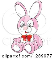 Clipart Of A Stuffed Pink Rabbit Toy Royalty Free Vector Illustration