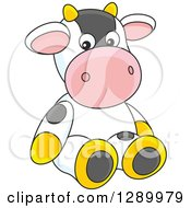 Clipart Of A Cute Stuffed Cow Toy Royalty Free Vector Illustration by Alex Bannykh
