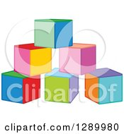 Clipart Of A Triangle Of Colorful Toy Blocks Royalty Free Vector Illustration by Alex Bannykh