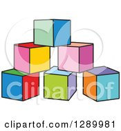 Clipart Of A Pyramid Of Colorful Toy Blocks Royalty Free Vector Illustration