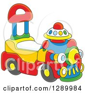 Clipart Of A Colorful Ride On Toy Train Royalty Free Vector Illustration by Alex Bannykh