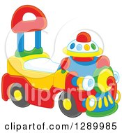 Clipart Of A Ride On Toy Train Royalty Free Vector Illustration