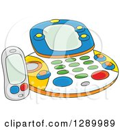 Clipart Of A Childs Fax Facsimile Machine Toy Royalty Free Vector Illustration