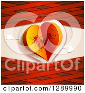 Clipart Of A Valentines Day Background Of A Butterfly Paper Heart With Cupids Arrow And Red Lattice Royalty Free Vector Illustration