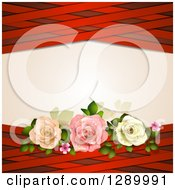 Valentines Day Or Wedding Background Of Three Roses And Red Lattice Around Text Space
