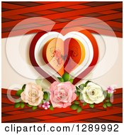 Clipart Of A Valentines Day Background Of A Butterfly Paper Heart With Roses And Red Lattice Royalty Free Vector Illustration