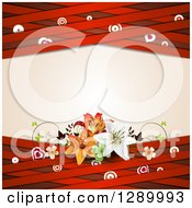 Valentines Day Or Wedding Background Of Lilies Hearts Butterflies Targets And Red Lattice Around Text Space