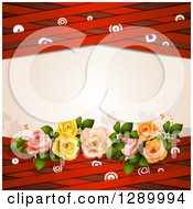 Valentines Day Or Wedding Background Of Roses Hearts Targets And Red Lattice Around Text Space
