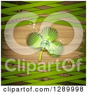 Clipart Of A St Patricks Day Background With A Dewy Shamrock Ladybug Halftone Grass And Green Lattice Over Wood Royalty Free Vector Illustration