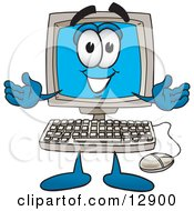 Clipart Picture Of A Desktop Computer Mascot Cartoon Character With Welcoming Open Arms by Toons4Biz #COLLC12900-0015