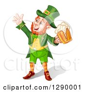 Clipart Of A Celebrating Happy Leprechaun Cheering With Beer Royalty Free Vector Illustration by merlinul