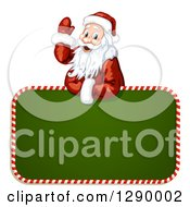 Clipart Of A Waving Santa Claus Over A Green Christmas Sign Royalty Free Vector Illustration