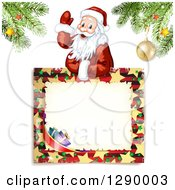 Clipart Of A Waving Santa Claus Over A Christmas Sign Under Tree Branches On Off White Royalty Free Vector Illustration