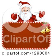 Clipart Of A Welcoming Santa Claus Over A Red Christmas Sign Royalty Free Vector Illustration