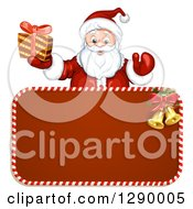 Clipart Of A Welcoming Santa Claus Holding A Present Over A Red Christmas Sign Royalty Free Vector Illustration