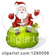 Clipart Of A Welcoming Santa Claus Sitting On A Giant Green Christmas Sack Royalty Free Vector Illustration