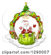 Clipart Of A Welcoming Santa Claus Sitting On A Giant Green Christmas Sack Under A Tree Arch Royalty Free Vector Illustration