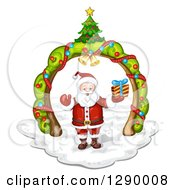 Clipart Of A Welcoming Santa Claus Holding A Christmas Gift Under A Tree Arch Royalty Free Vector Illustration