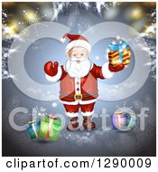 Clipart Of A Welcoming Santa Claus Holding A Christmas Gift Over Blue With Bokeh And Branches Royalty Free Vector Illustration