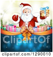 Clipart Of A Welcoming Santa Claus Holding A Christmas Gift Over A Bow And Ribbon With Presents On Blue And Gold Royalty Free Vector Illustration