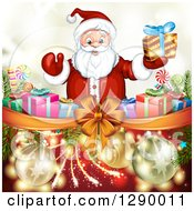 Clipart Of A Welcoming Santa Claus Holding A Christmas Gift Over A Bow And Ribbon With Presents On Gold And Red Royalty Free Vector Illustration
