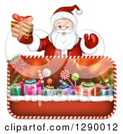 Clipart Of A Welcoming Santa Claus Holding A Christmas Gift Over Framed Presents Royalty Free Vector Illustration