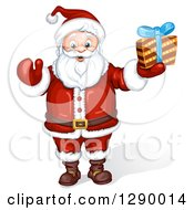 Clipart Of A Jolly Santa Claus Holding A Christmas Gift Royalty Free Illustration