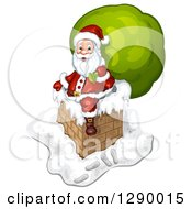 Clipart Of Santa Claus Holding A Giant Green Sack On A Chimney Royalty Free Illustration