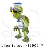 Clipart Of A 3d Tortoise Turtle Sailor Wearing Sunglasses And Facing Left Royalty Free Illustration