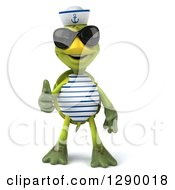 Clipart Of A 3d Tortoise Turtle Sailor Wearing Sunglasses And Giving A Thumb Up Royalty Free Illustration