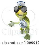 Clipart Of A 3d Tortoise Turtle Sailor Wearing Sunglasses Looking Up And Presenting Left Royalty Free Illustration