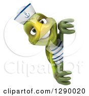 Clipart Of A 3d Tortoise Turtle Sailor Smiling Around A Sign Royalty Free Illustration