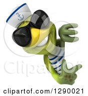 Clipart Of A 3d Tortoise Turtle Sailor Wearing Sunglasses And Pointing Around A Sign Royalty Free Illustration by Julos