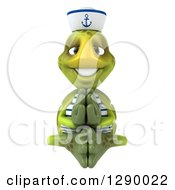 Clipart Of A 3d Tortoise Turtle Sailor Meditating Royalty Free Illustration
