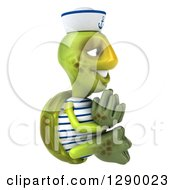 Clipart Of A 3d Tortoise Turtle Sailor Facing Right And Meditating Royalty Free Illustration by Julos