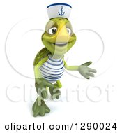 Clipart Of A 3d Tortoise Turtle Sailor Looking Up And Presenting Right Royalty Free Illustration