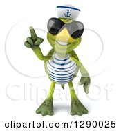 Clipart Of A 3d Tortoise Turtle Sailor Wearing Sunglasses And Holding A Finger Up Royalty Free Illustration