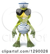 Clipart Of A 3d Tortoise Turtle Sailor Wearing Sunglasses Royalty Free Illustration