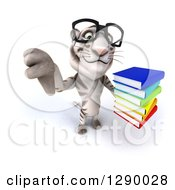 Clipart Of A 3d Bespectacled White Tiger Holding Up A Thumb Down And A Stack Of Books Royalty Free Illustration