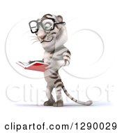 Clipart Of A 3d Bespectacled White Tiger Facing Left And Reading A Book Royalty Free Illustration