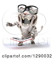 Clipart Of A 3d Bespectacled White Tiger Roaring And Holding A Book Royalty Free Illustration
