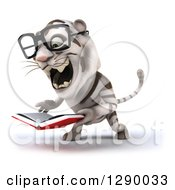 Clipart Of A 3d Bespectacled White Tiger Facing Slightly Left Roaring And Holding A Book Royalty Free Illustration