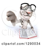 Clipart Of A 3d Bespectacled White Tiger Holding Up A Thumb Down And An Open Book Royalty Free Illustration