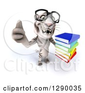 Clipart Of A 3d Bespectacled White Tiger Holding Up A Thumb And A Stack Of Books Royalty Free Illustration