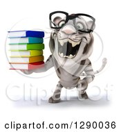 Clipart Of A 3d Bespectacled White Tiger Roaring And Holding A Stack Of Books Royalty Free Illustration