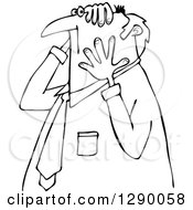 Clipart Of A Worried Chubby Senior Black And White Businessman Grabbing His Head And Face Royalty Free Vector Illustration