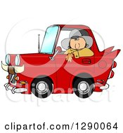 Clipart Of A White Cowboy Looking Out Of The Window Of His Red Vintage Car With Horns On The Front Royalty Free Illustration by Dennis Cox