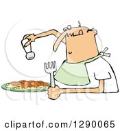 Hungry Chubby White Man Wearing A Bib And Salting A Plate Of Spaghetti